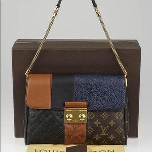 Auth Louis Vuitton marine monogram blocks pochette